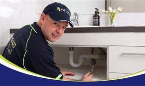 great shot of a plumber
